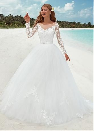 cd4e7fbffa Buy discount Elegant Tulle Bateau Neckline Ball Gown Wedding Dresses With Lace  Appliques at Dressilyme.
