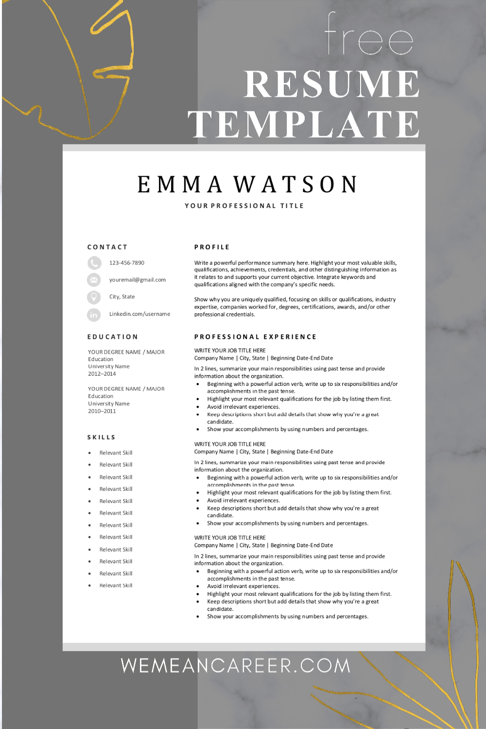 Modern Resume Template Download For Free In 2020 Downloadable Resume Template Resume Template Modern Resume Template Free