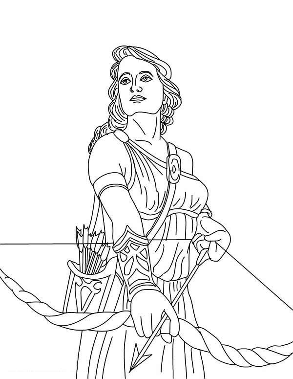 coloring goddess print the goddess artemis and her bow from greek mythology coloring