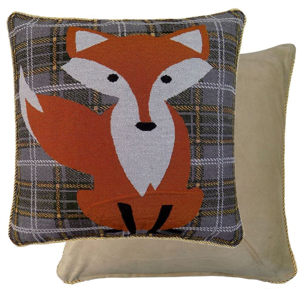 Grey green orange white tartan fox tapestry cushion cover tartan