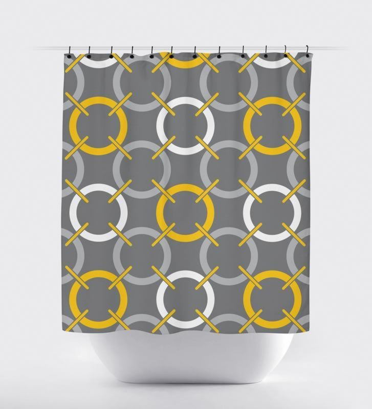 Mustard/Gray Circle Shower Curtain | Pinterest | Mustard and Gray