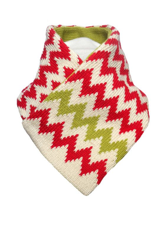 Reversible Collar Scarf  Red Cream and Lime by rheaclements, £38.00