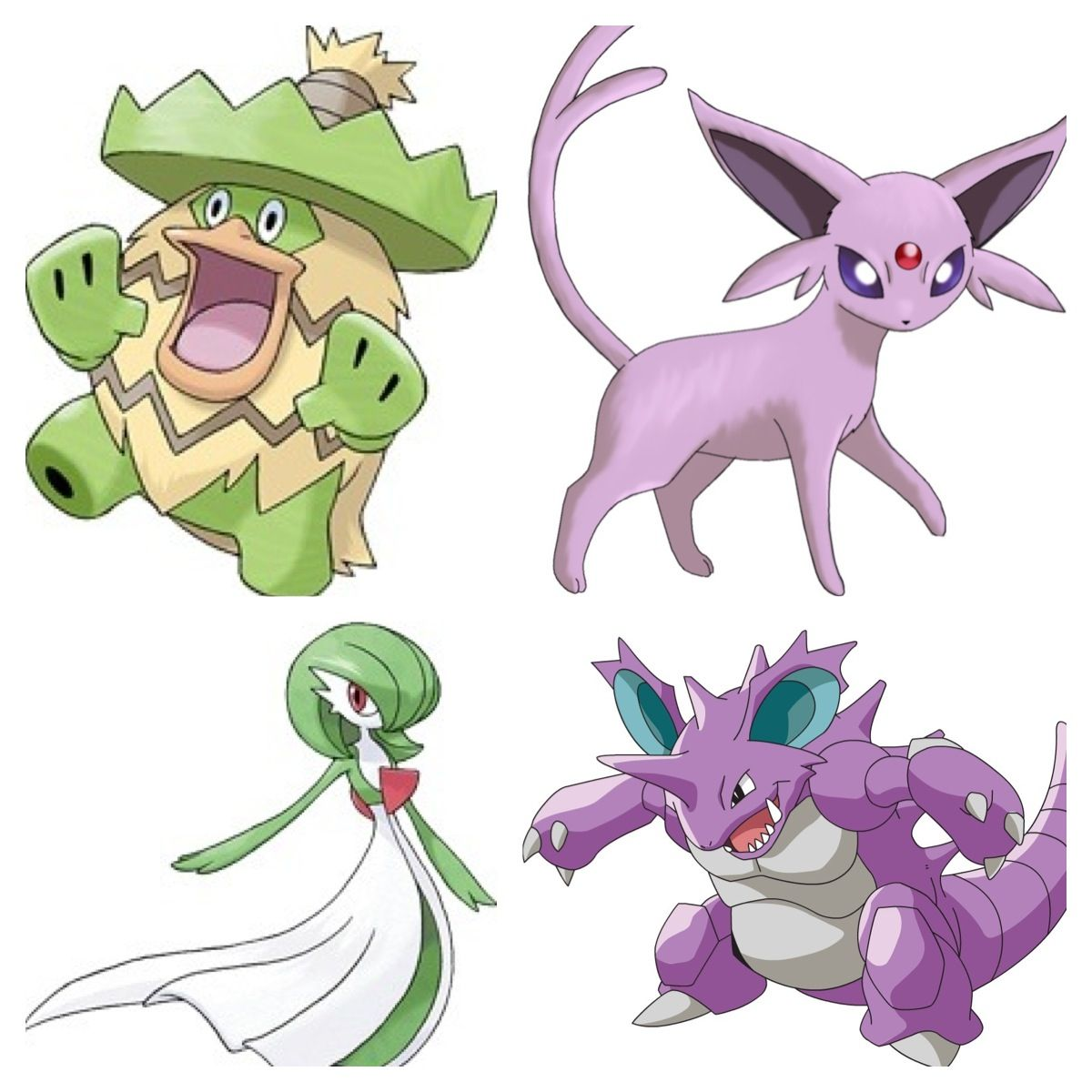 Pokemon: can't remember first one's name, Espeon, can't spell third one's name & Nidoking