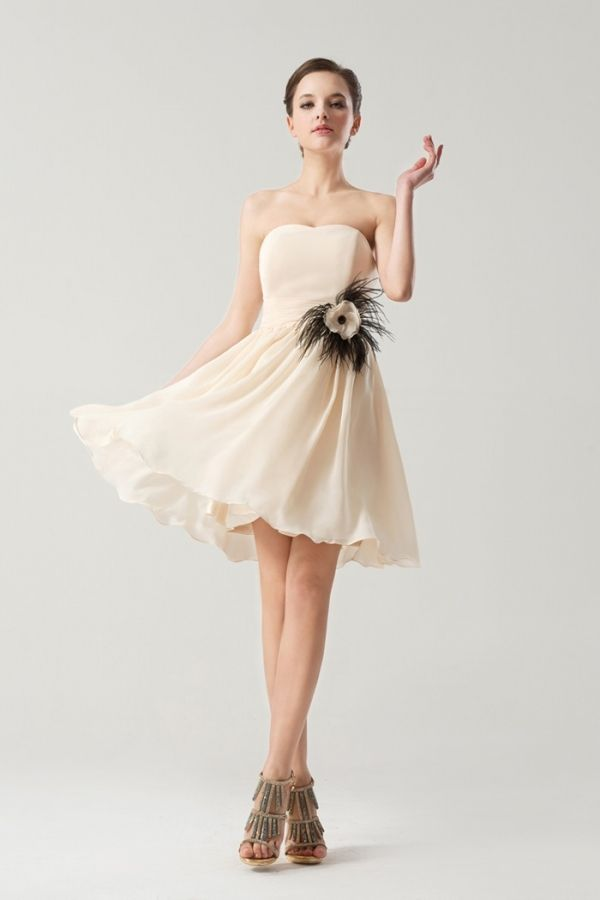 Simple Empire Flowers Feathers Short Bridesmaid Dress Dream