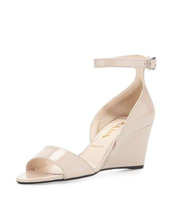 Patent Demi-Wedge Sandal, Cipria by Prada at Bergdorf Goodman.