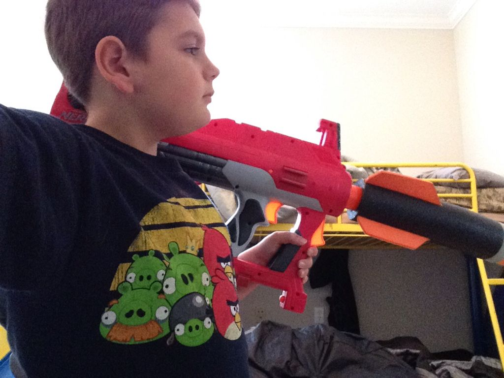 This nerf gun is a RPG. Follow me for more photos of me with my nerf guns.