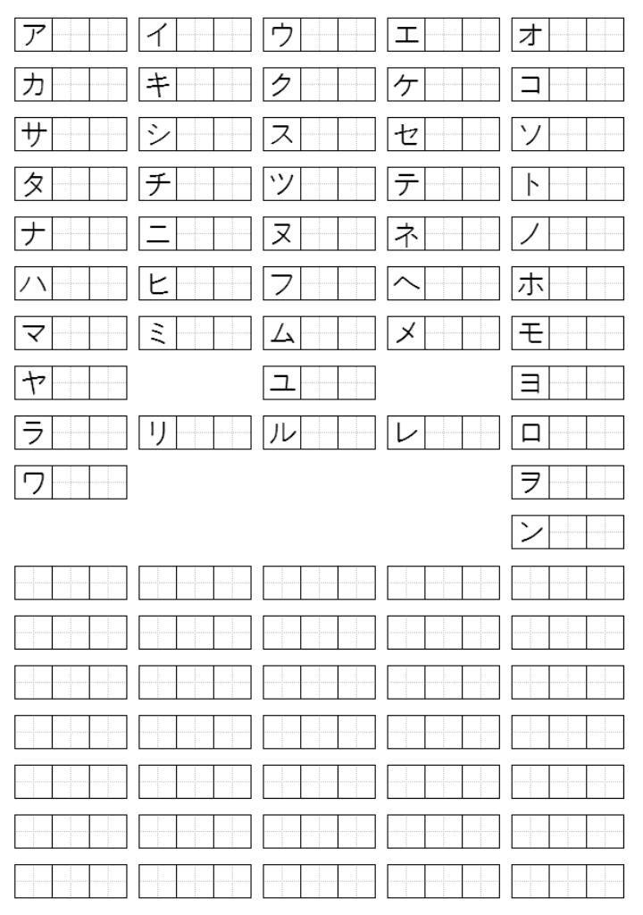 Katakana Practice Sheets Put