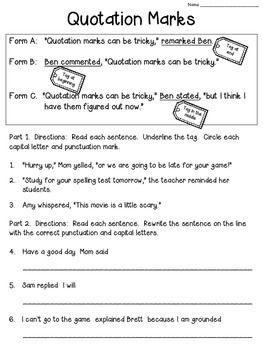quotation marks worksheet freebie grammar teaching writing 3rd grade writing quotation marks. Black Bedroom Furniture Sets. Home Design Ideas