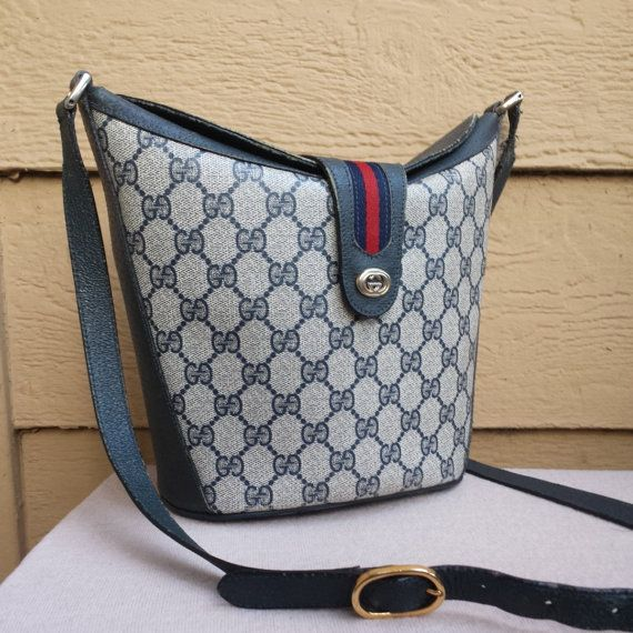 9a42fe2a4156 Authentic GUCCI Vintage Blue Classic Monogram And Stripes Bucket Bag  Crossbody Bag on Etsy, $75.00