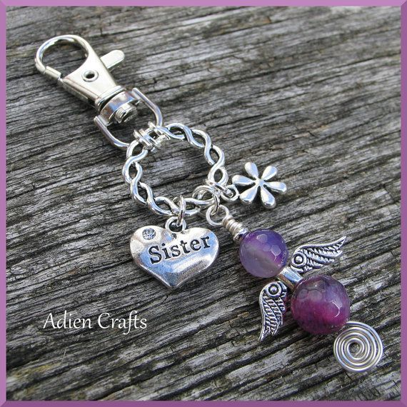 Sister Guardian Angel Purse Or Bag Charm Purple By Adiencrafts