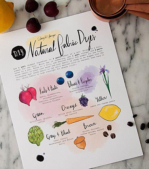 "Imprimible - ""chuleta"" para saber los colorantes naturales para hacer DIYs // Design*Sponge | Printable Natural Dyes Chart"