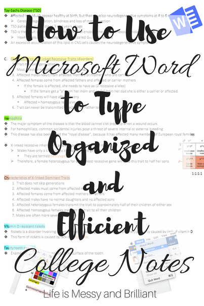 How to Use Microsoft Word to Type Organized College Notes