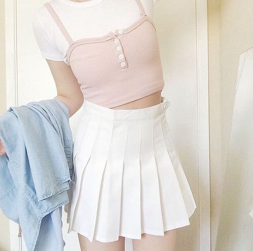 Image Via We Heart It Aesthetic Blue Fashion Girl Kfashion Pale Pink Skirt White Tennisskirt Cute Clotes Aesthetic Clothes Pink Outfits Fashion