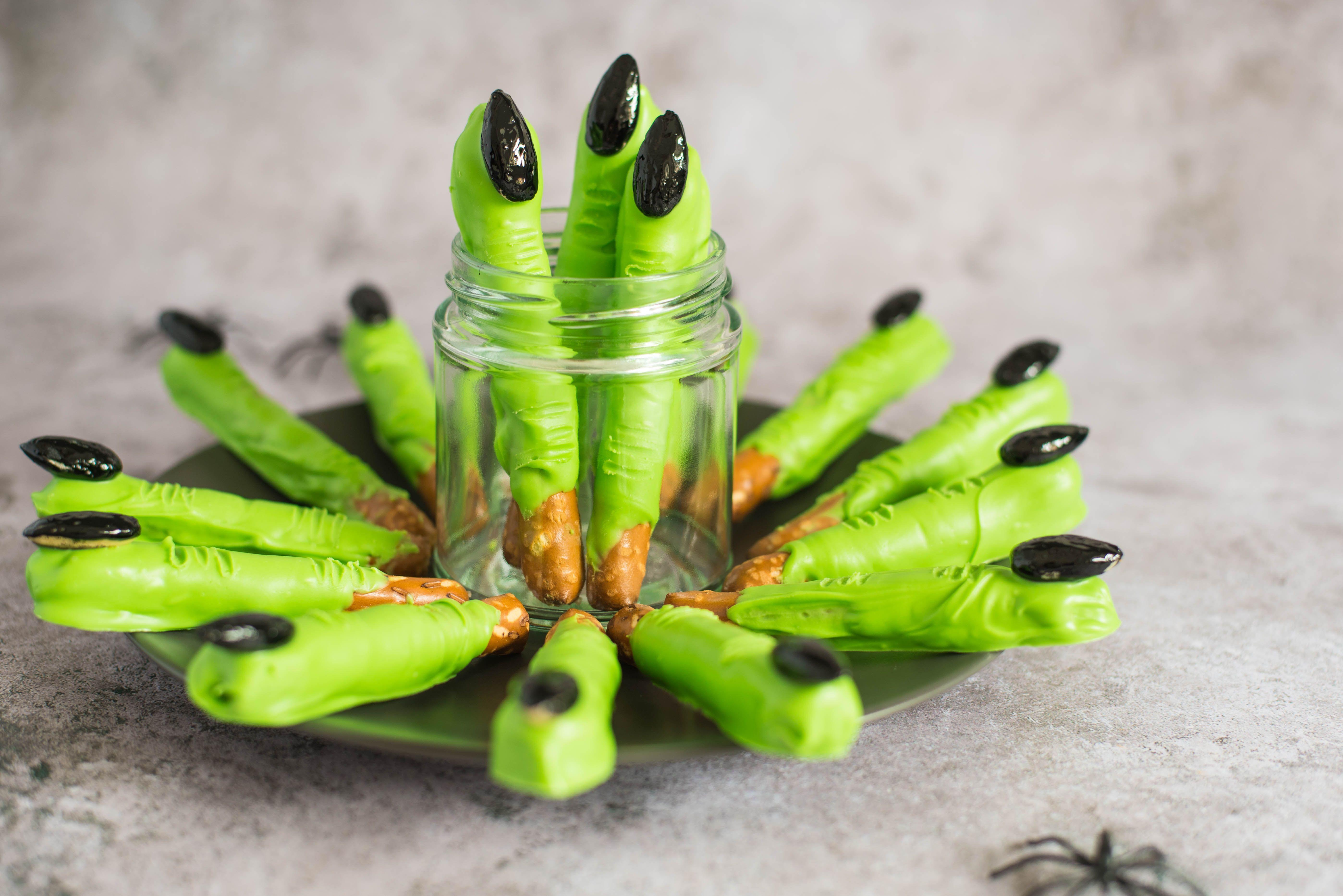 Witch Finger Pretzel Rods Recipe Halloween food for
