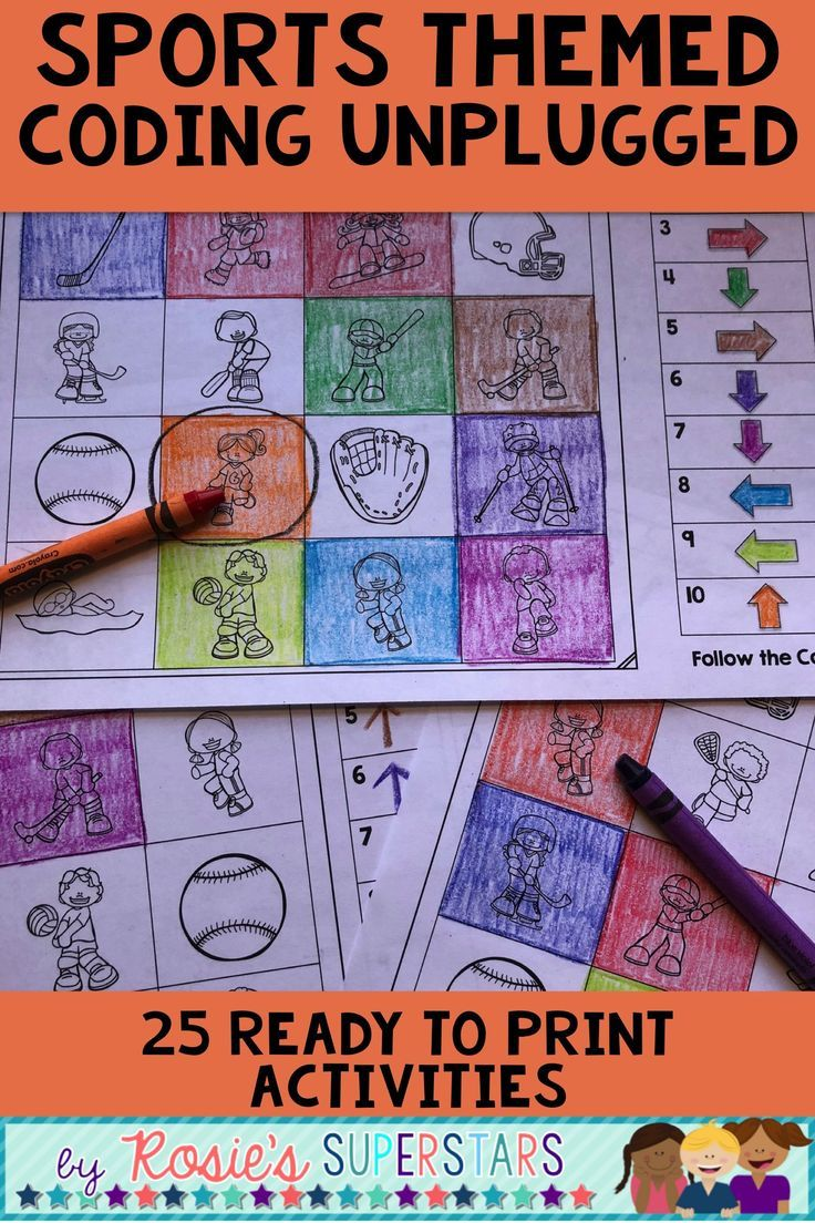 Sports Themed Unplugged Coding for Beginners Great for