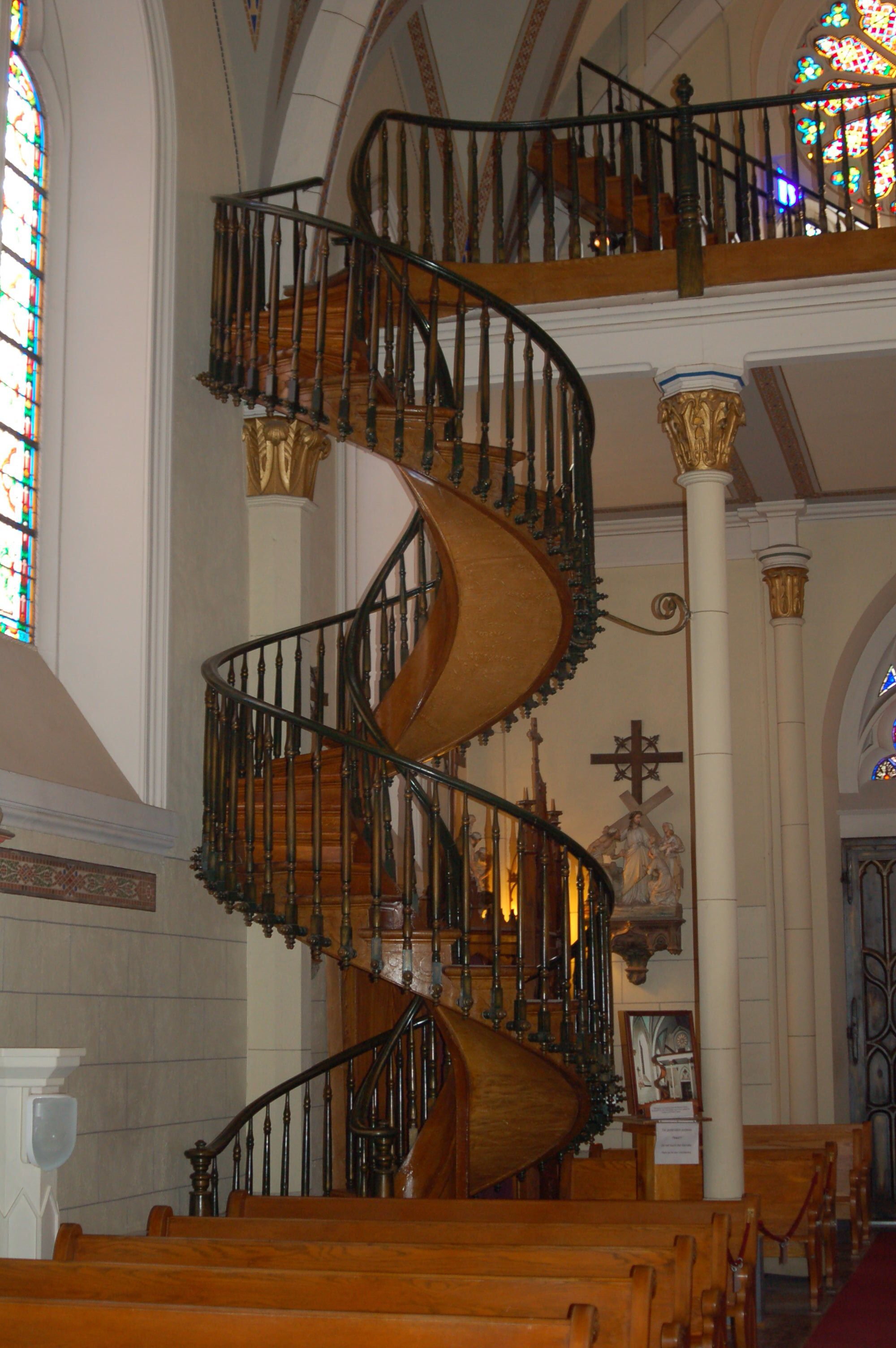 The Miracle Stairs The Famous Loretto Chapel Staircase A Rail | The Staircase Of Loretto Chapel | Original | Light | Weird | Stairway | Magical