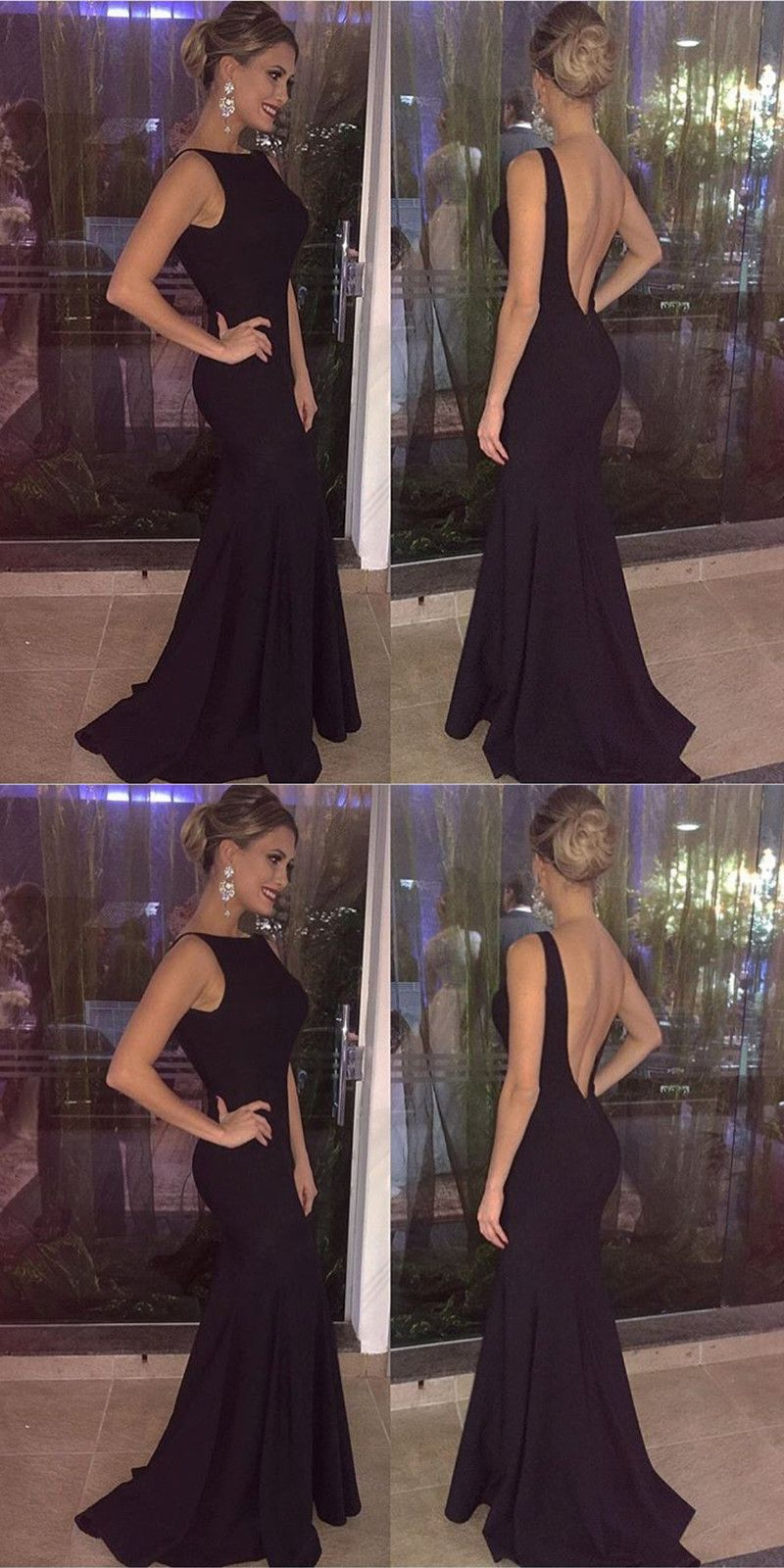 Sexy backless mermaid evening dress black long prom dresses formal