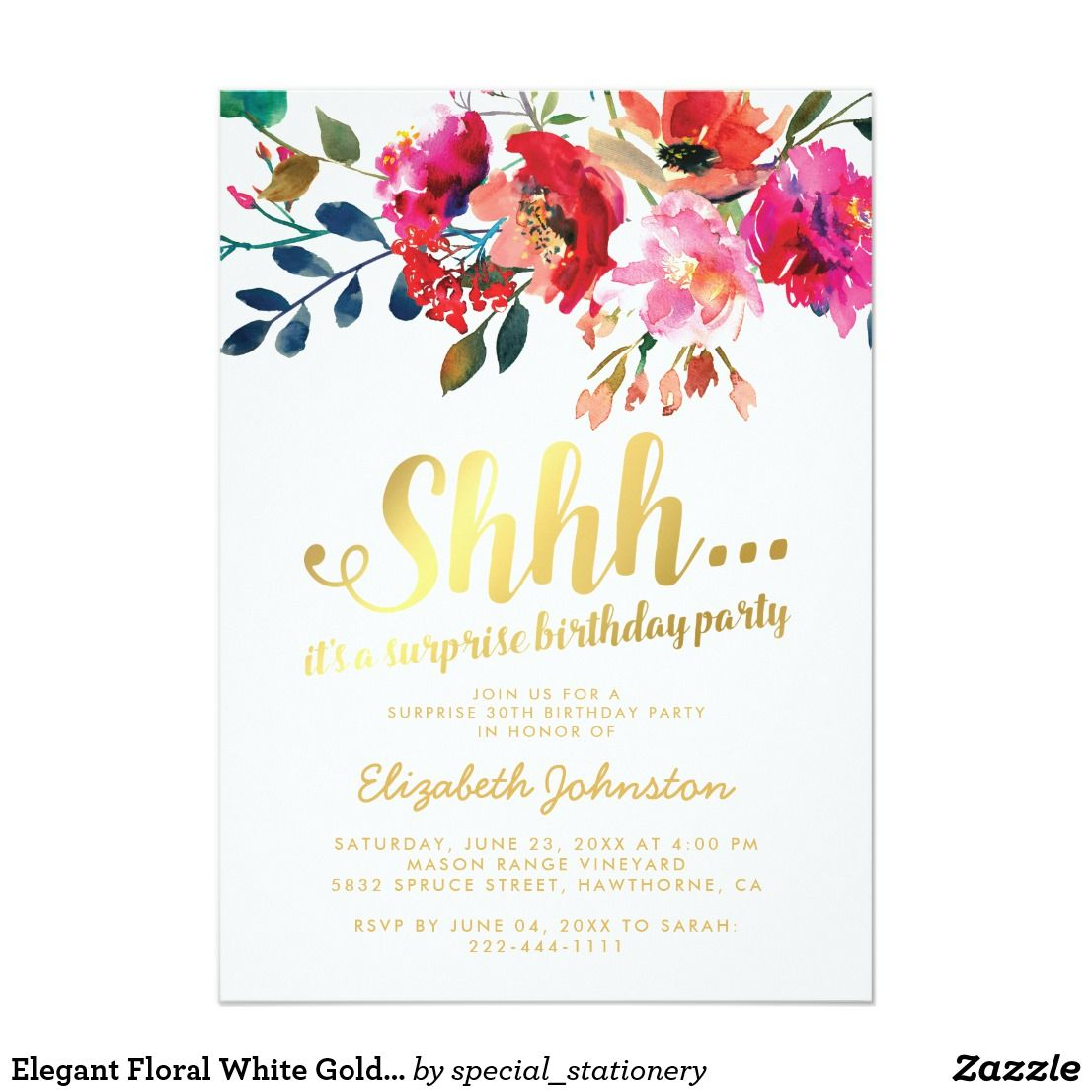 Elegant Floral White Gold Surprise Birthday Party Card Birthdayparty Birthdaygirl Decor