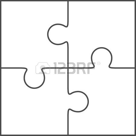 Jigsaw puzzle vector, blank simple template 2x2, four pieces - blank puzzle template