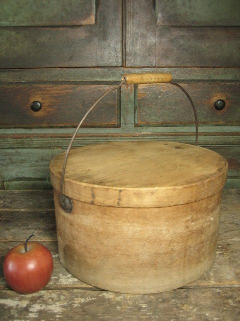 Authentic Early Old Country Farmhouse Large Bail Handled Pantry Box - Natural Attic Finish, Nice Condition #HannahsHouseAntiques #Primitives http://www.rubylane.com/item/497177-9109/Authentic-Early-Country-Farmhouse-Large-Bail
