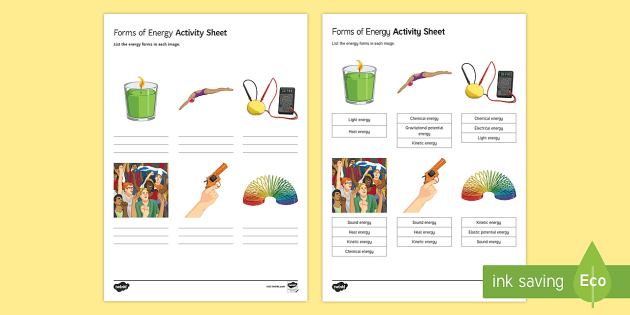 Forms of Energy Activity Sheet - energy, energy store, energy form ...