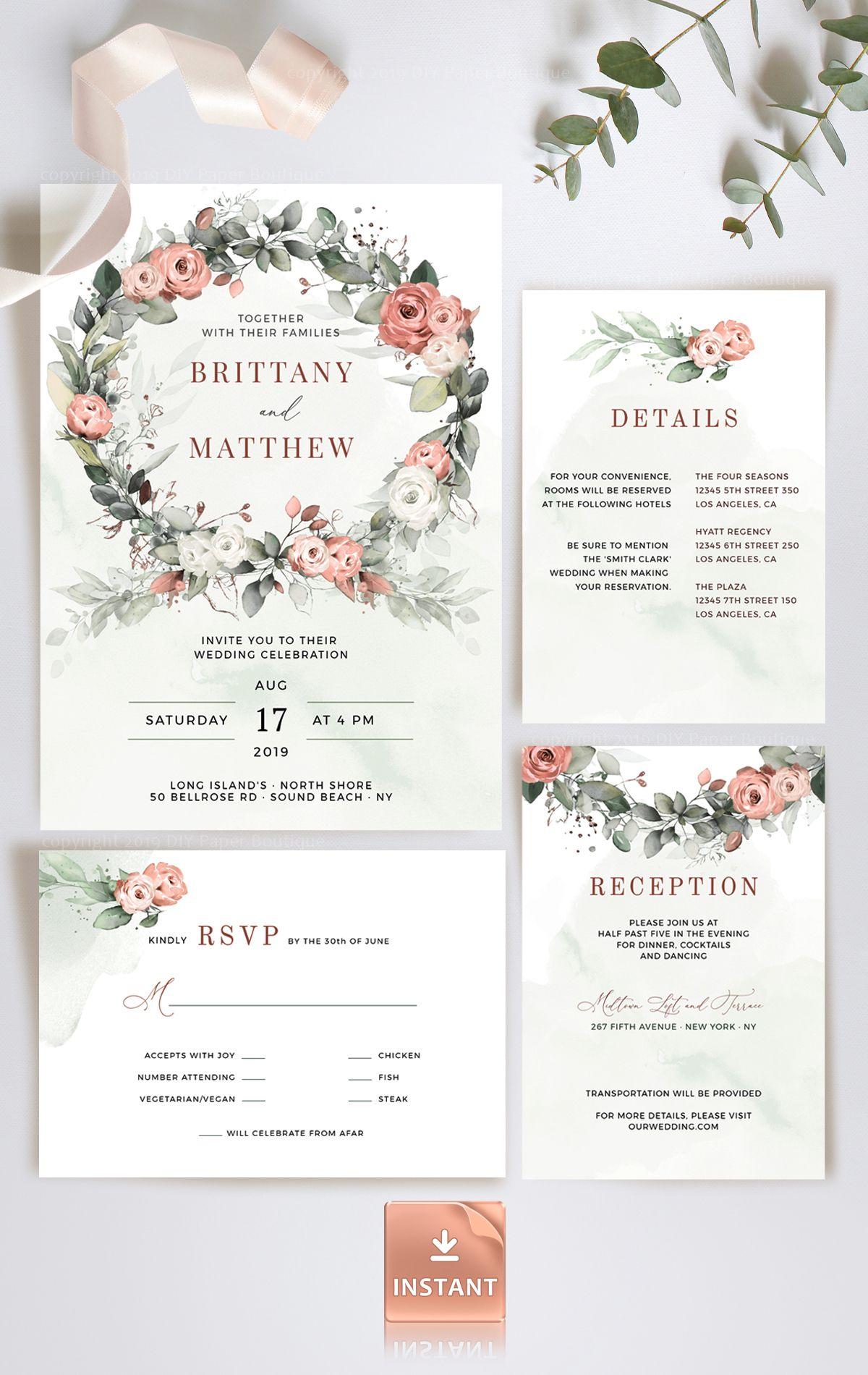 Dusty Rose Wedding Invitation Template Watercolor Rose Gold Boho
