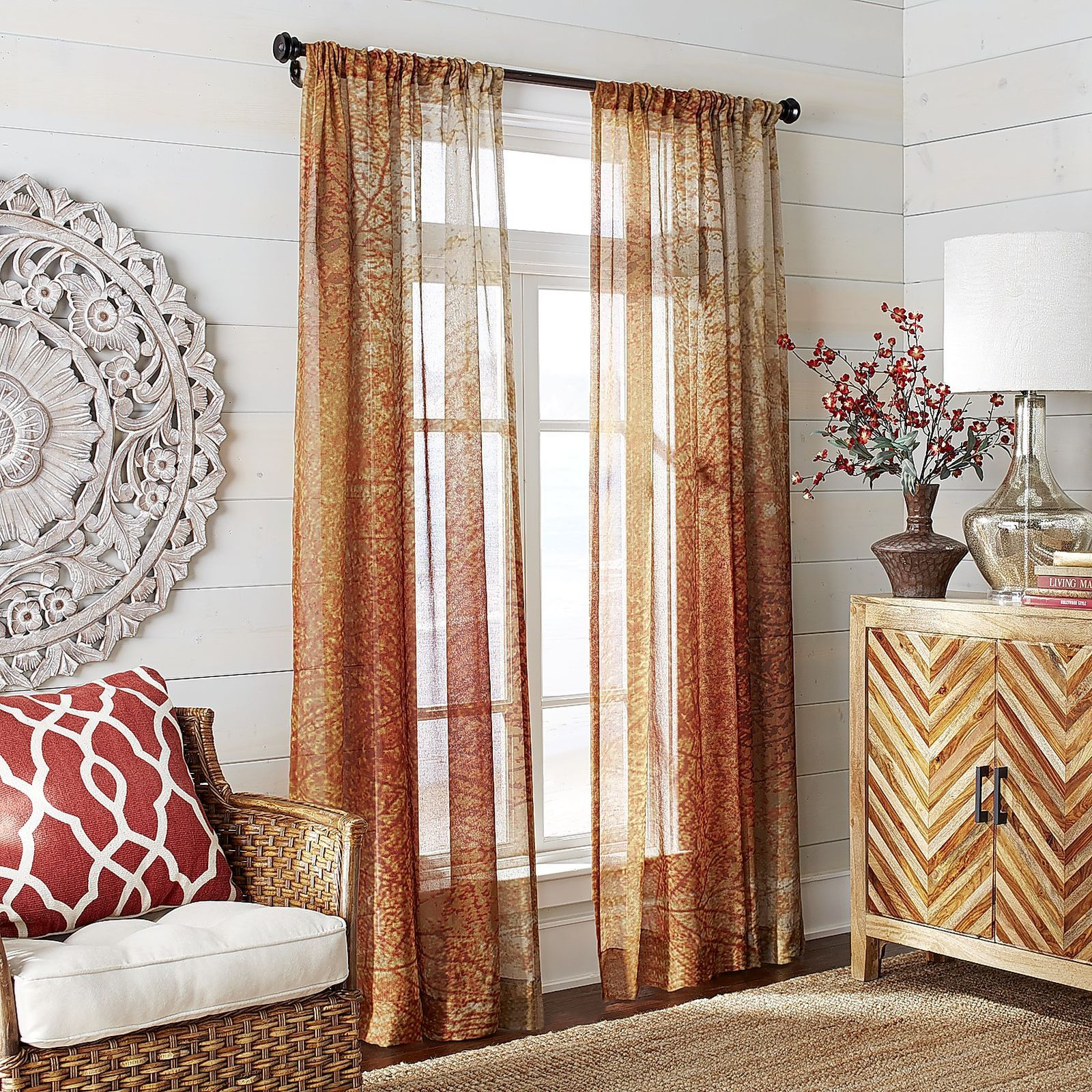 Sheer Curtains For Living Room Autumn Leaves Sheer Curtain Pier 1 Imports Living Room