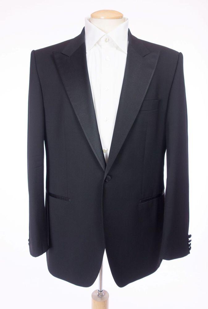 HUGO BOSS Cary/Grant Tuxedo Suit 54 44 Reg L Black Peak Lapel Wool 1 Btn Jacket #HUGOBOSS #Tuxedo