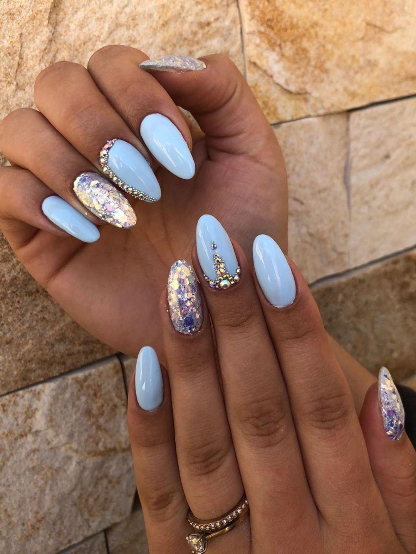 Light Blue Nails For Summer Almond Shape Light Blue Acrylic Nails Summernails In 2020 Blue Acrylic Nails Almond Shaped Nails Designs Chloe Nails