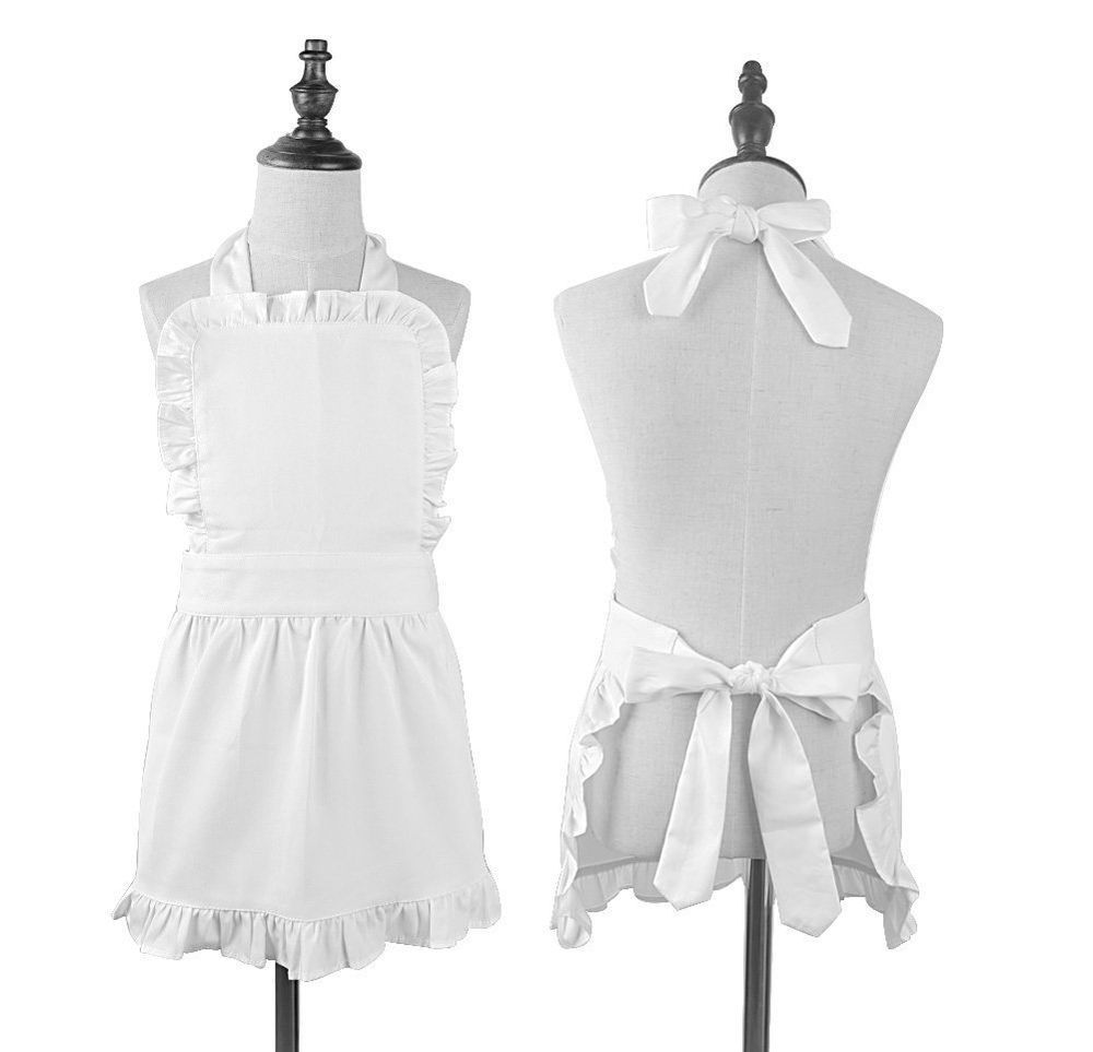 White apron meals - Pure Cotton White Apron Children Cooking Apron Princess Ruffle Apron For Kids Ebay
