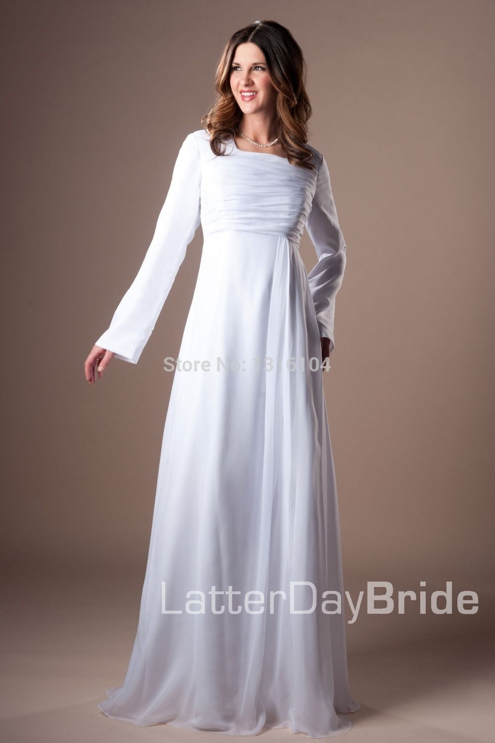 Real 2015 Simple White  A-line Floor Length Modest Full Long Sleeves Chiffon Temple Wedding Dress With Sleeves Actual image