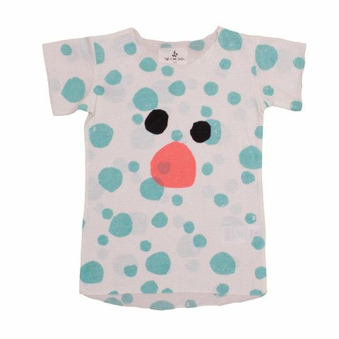 Noé & Zoë Kids Tee Turquoise Dots With Bear Print at Rowdy Roddy Vintage