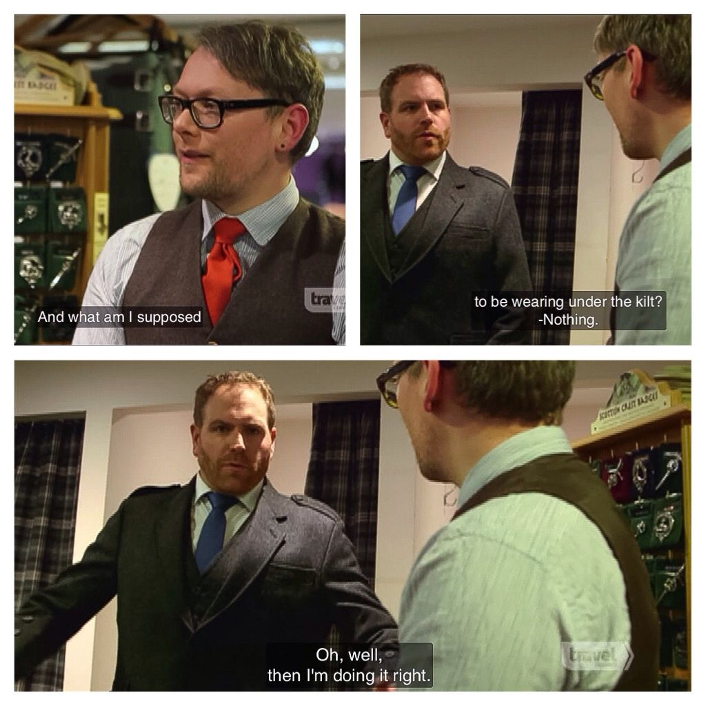 Josh Gates and how to wear a kilt, The Quest for King Authur, Expedition Unknown (screen cap)