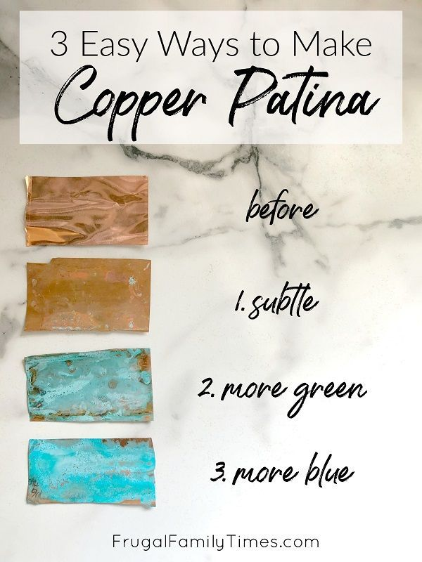 Wondering how to turn copper green? I've got the copper patina solution recipes for you! We're adding patina copper sheets to our stairs, but first I needed to experiment to find the perfect copper patina recipe. Here you'll find three: one subtle patina'd copper, second a green copper verdigris, the last a blue patina on copper. So many crafty ideas!