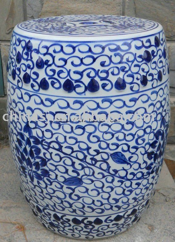 Blue Garden Stool 18 Blue And White Oriental Porcelain Garden