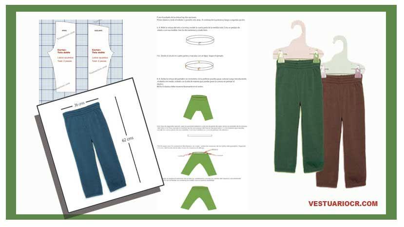 Patrón pantalón niños 4 a 5 años gratis | molde Bermuda, capri ...