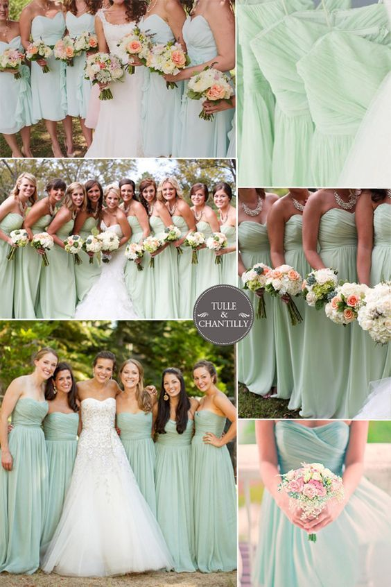 pistachio and mint wedding color ideas and bridesmaid dresses spring