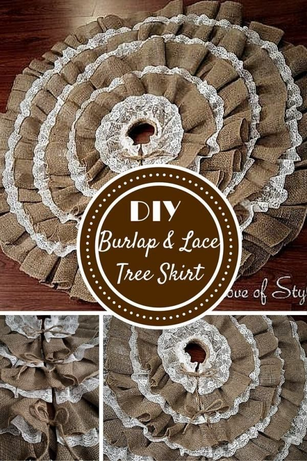 DIY No-Sew Burlap and Lace Christmas Tree Skirt | Lace ...