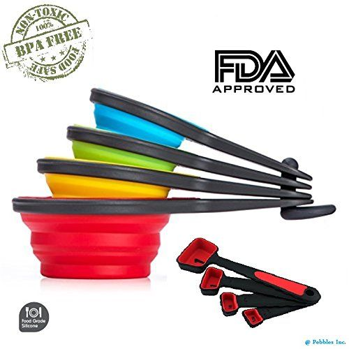 100 Food Grade 8pcs Portable Silicone Collapsible Measuring Cup And Spoon  Set