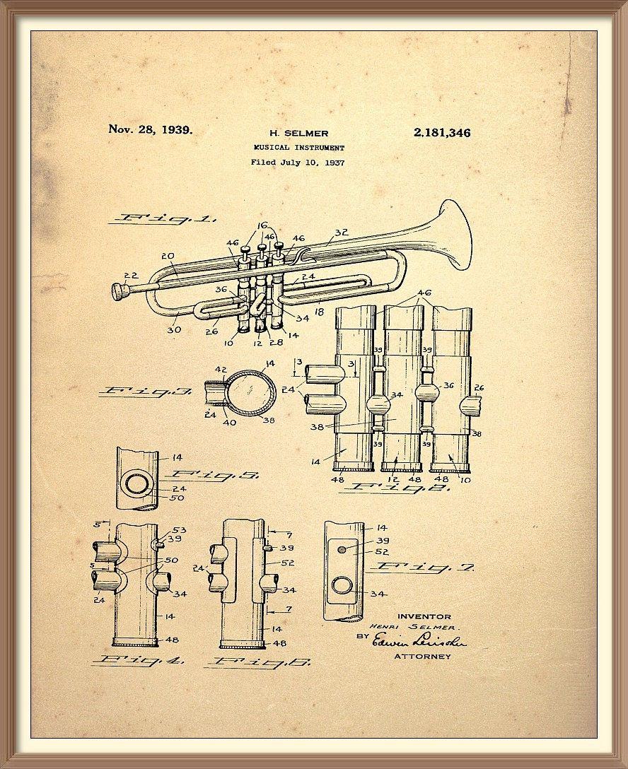 Trumpet Patent Print Blueprint
