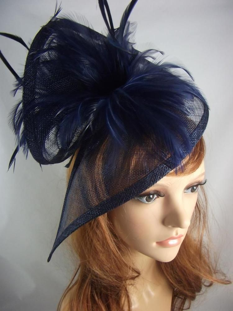 Navy Dark Blue Sinamay   Feathers Twist Fascinator - Hat Occasion Wedding  Races  22091dc1e22
