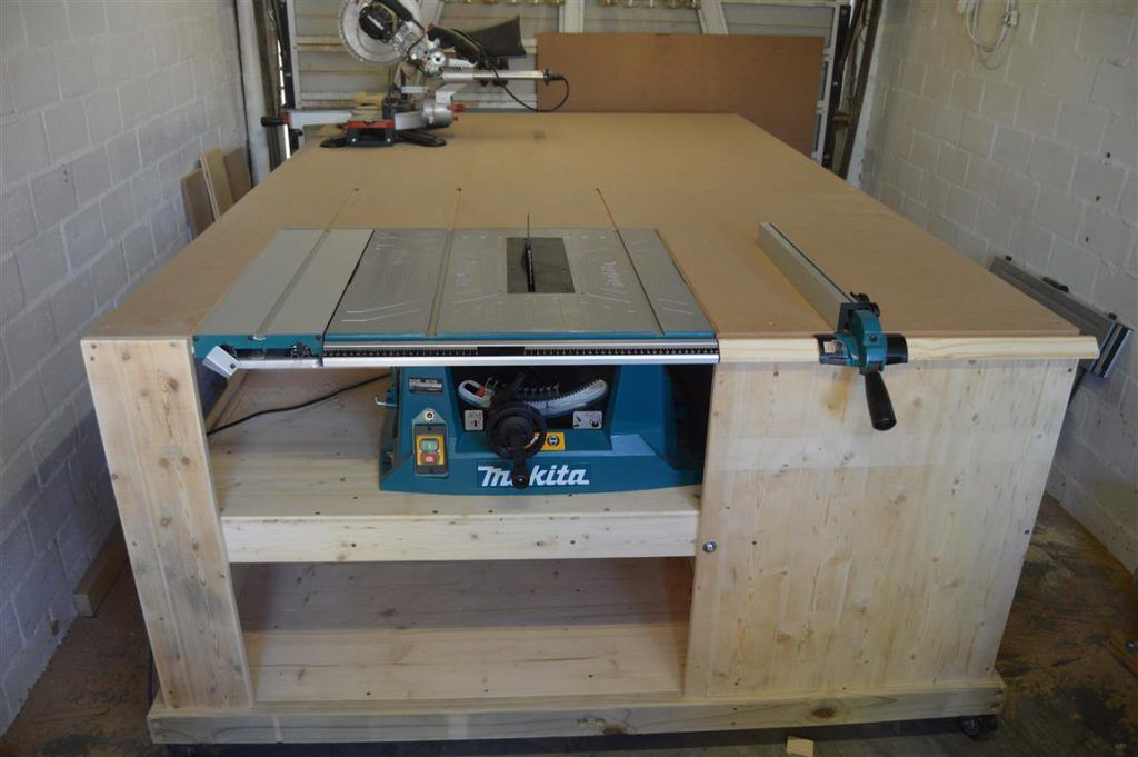 NO CLASH! Miter Saw Installed To Table Saw Outfeed Table | All-In-One Workbench PART 3