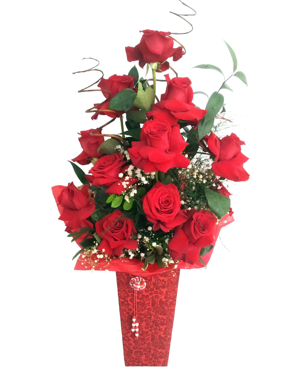 Arranjo com rosas importadas. A venda no site.