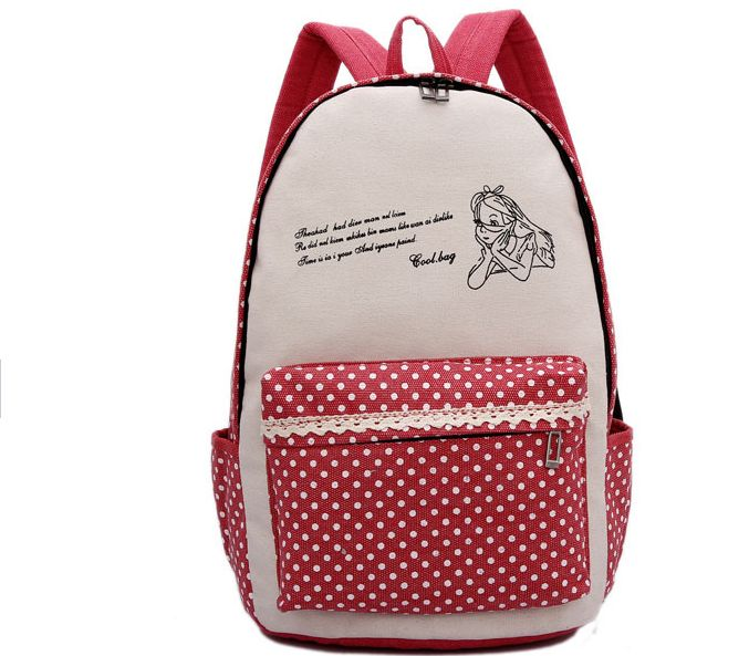 New Canvas schoolbags cartoon cute girl zipper backpacks travel backpacks koreaLovely dot girls bag schoolbags for girl