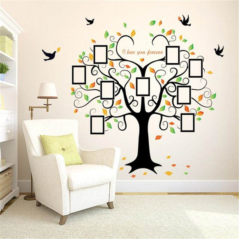 Heart-Shaped Photo Frame Tree Vinyl Wall Stickers For Kids Rooms ...