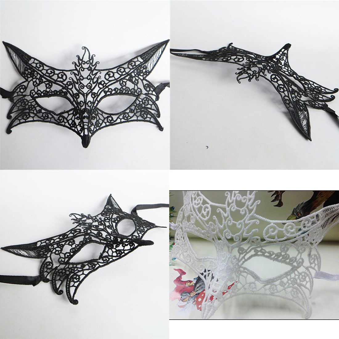 funny 1pc black white sexy lady lace masks cutout eye masks for halloween masquerade party fancy