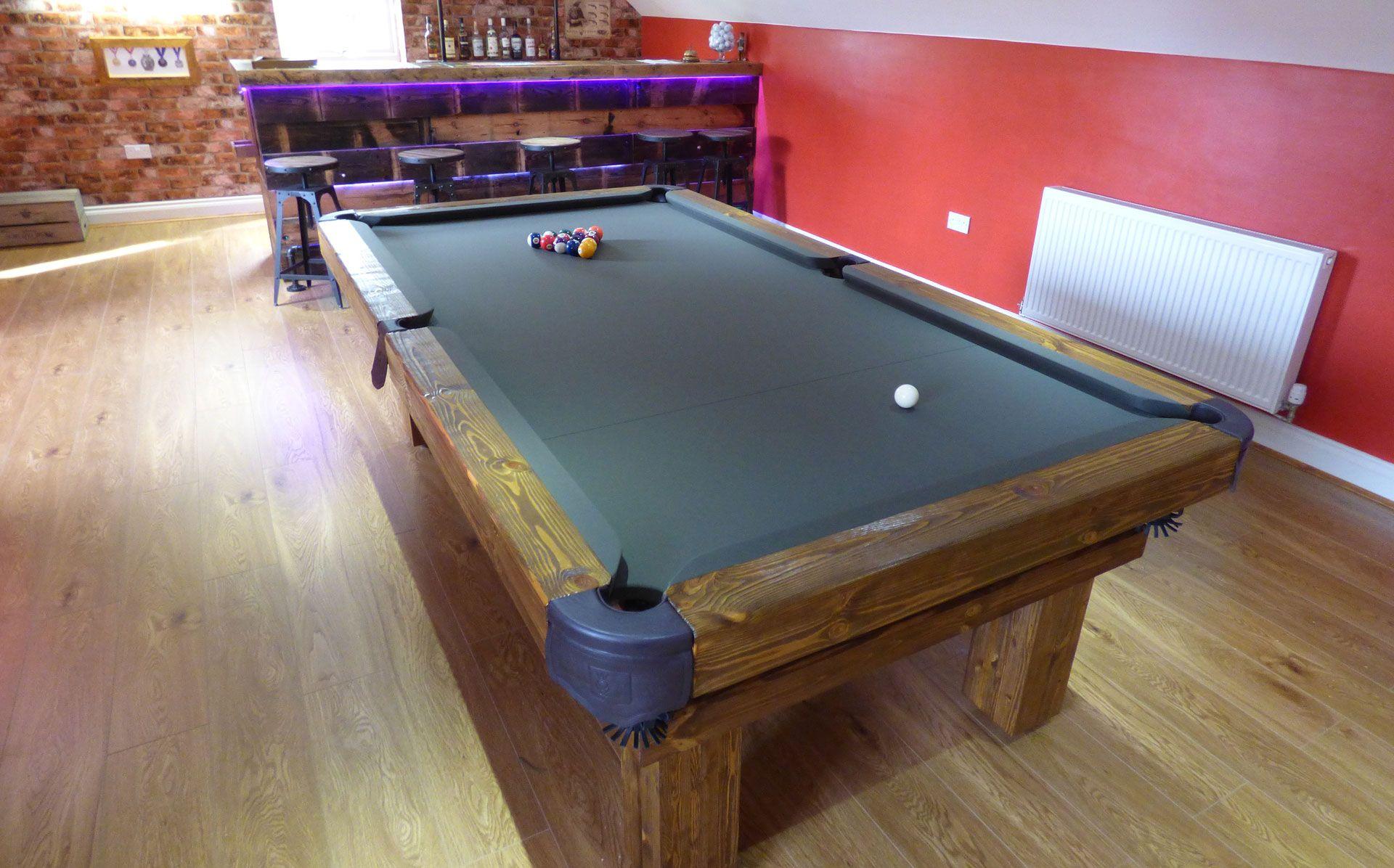 8u0027 English Rustic Pool Table, With Soft Wood Colour #6, Simonis Olive