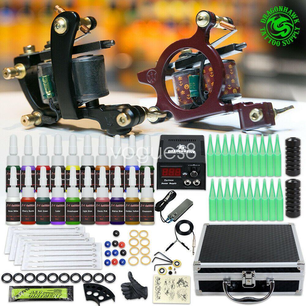 Beginner tattoo kit machine guns color ink power supply