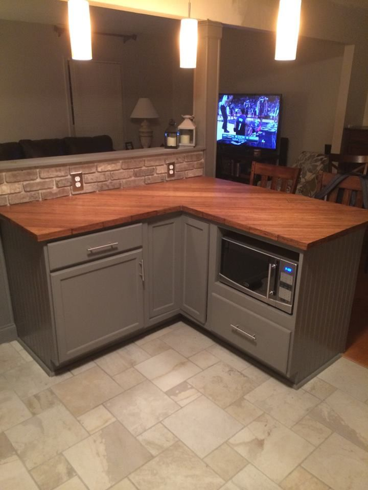 Hardwood Flooring Used For Countertop Kitchen Remodel