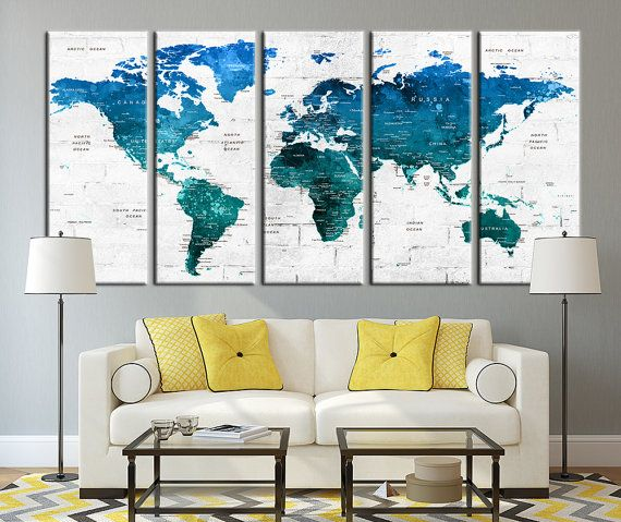 Push Pin Travel World Map Wall Art Canvas by ExtraLargeWallArt - copy large world map for the wall